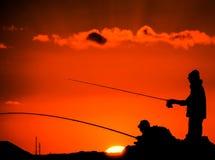 Pescador Fishing Rod Silhouette imagem de stock