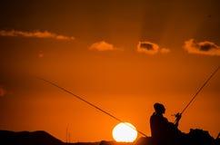 Pescador Fishing Rod Silhouette Imagens de Stock