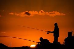 Pescador Fishing Rod Silhouette foto de stock
