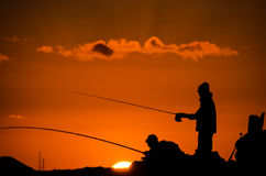 Pescador Fishing Rod Silhouette Fotografia de Stock Royalty Free