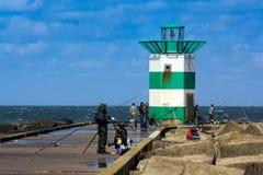 Pescador holandés en el embarcadero Foto de archivo libre de regalías