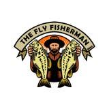 Pescador Holding Largemouth Bass Woodcut de la mosca ilustración del vector
