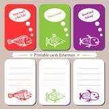 Pescador imprimible de las tarjetas stock de ilustración
