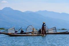 Pescador, lago del inle en Myanmar (Burmar) Fotografía de archivo
