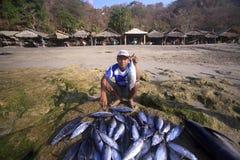 Pescador (Lamalera, Indonesia) Imagen de archivo