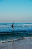 Pescador local en el palillo en una playa del Océano Índico, Sri Lanka Fotos de archivo libres de regalías