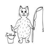 Pescador a mano lindo del gato con pescados y una barra libre illustration