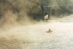 Pescador na névoa Imagens de Stock