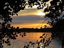 Pescador no barco atrás dos ramos de árvore com as folhas no por do sol sobre o lago bonito com o céu nebuloso no fundo fotos de stock royalty free