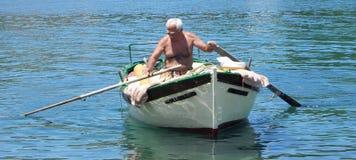 Pescador Paxos Foto de archivo libre de regalías