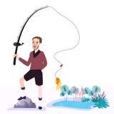 Pescador plano con los pescados que llevan a cabo vacaciones del ejemplo del vector de la caña de pescar libre illustration