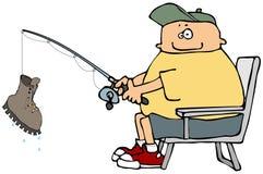 Pescador que bobina em um grande ilustração do vetor