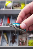 Pescador que elige un señuelo Foto de archivo