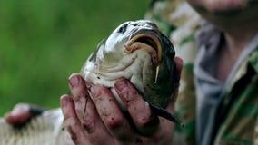 Pescador que mostra um peixe travado O homem de Fisher travou um peixe video estoque