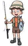 Pescador que sostiene pescados stock de ilustración