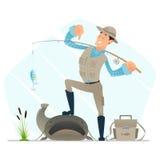 Pescador satisfeito com peixes Foto de Stock Royalty Free