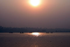 Pescador Silhouette Imagem de Stock