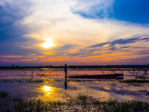 Pescador Silhouette Foto de Stock Royalty Free
