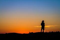 Pescador Silhouette Fotografia de Stock