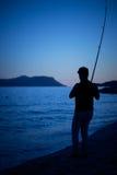 Pescador Silhouette fotos de stock