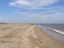 Pescador solo en costa de Mar del Norte Fotografía de archivo libre de regalías