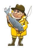 Pescador sonriente stock de ilustración