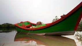 Pescador tradicional Boat en el río fotografía de archivo libre de regalías