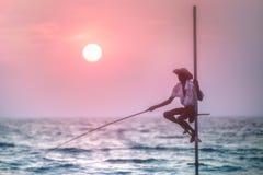 Pescador tradicional en la puesta del sol, Sri Lanka Foto de archivo