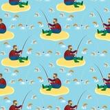 Pescador y pescados Modelo inconsútil ilustración del vector