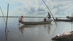 Pescadores, barco, mekong, cambodia, 3Sudeste Asiático video estoque