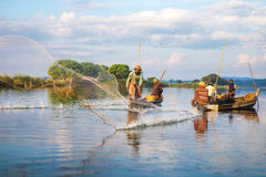 Pescadores captura pescados 3 de diciembre de 2013 Imagenes de archivo