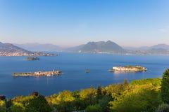 Pescadores da ilha de Maggiore do lago, ilha Bella e ilha Madre, S Imagens de Stock Royalty Free