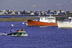 Pescadores de Nova Inglaterra e barcos de pesca Fotografia de Stock