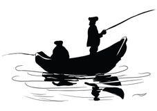 Pescadores em um barco ilustração do vetor