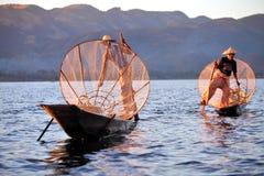 Pescadores en el lago Inle Imágenes de archivo libres de regalías