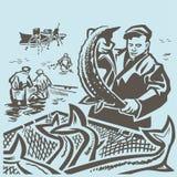 Pescadores en el mar stock de ilustración
