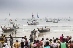 Pescadores en Ghana Fotos de archivo libres de regalías