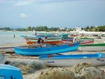 Pescadores en Hammamet, Túnez Foto de archivo