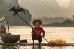 Pescadores en Li River fotografía de archivo