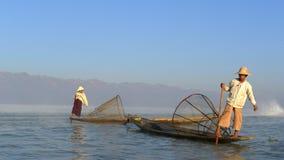 Pescadores en Myanmar Imagen de archivo libre de regalías