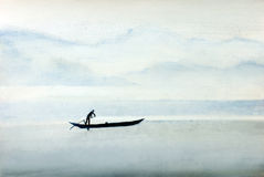 Pescadores en un barco Imágenes de archivo libres de regalías