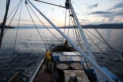 Pescadores no barco Fotografia de Stock