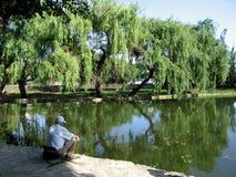 Pescadores no lago na cidade Fotos de Stock