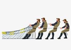 Pescadores que puxam a rede ilustração stock
