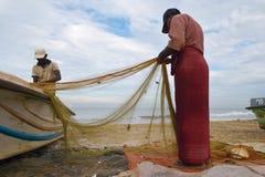 Pescadores que recolhem peixes fotos de stock royalty free