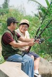 Fala com a pesca Fotografia de Stock Royalty Free