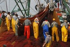 Pescadores que trabalham em Essaouira, Marrocos Imagens de Stock Royalty Free