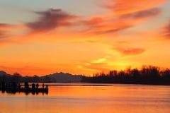 Pescadores, salida del sol del puerto de Steveston Foto de archivo libre de regalías