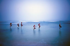 Pescadores tradicionais Sri Lanka do pernas de pau sobre o conceito da água Fotos de Stock Royalty Free