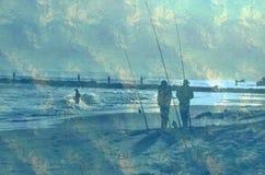 Pescadores ventosos do ponto da pesca do ponto de New York City Imagem de Stock